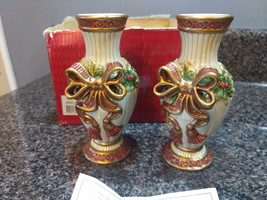"Fitz & Floyd Noel Collection 5"" Candlestick Holders Taper Candles Set of 2  - $12.00"