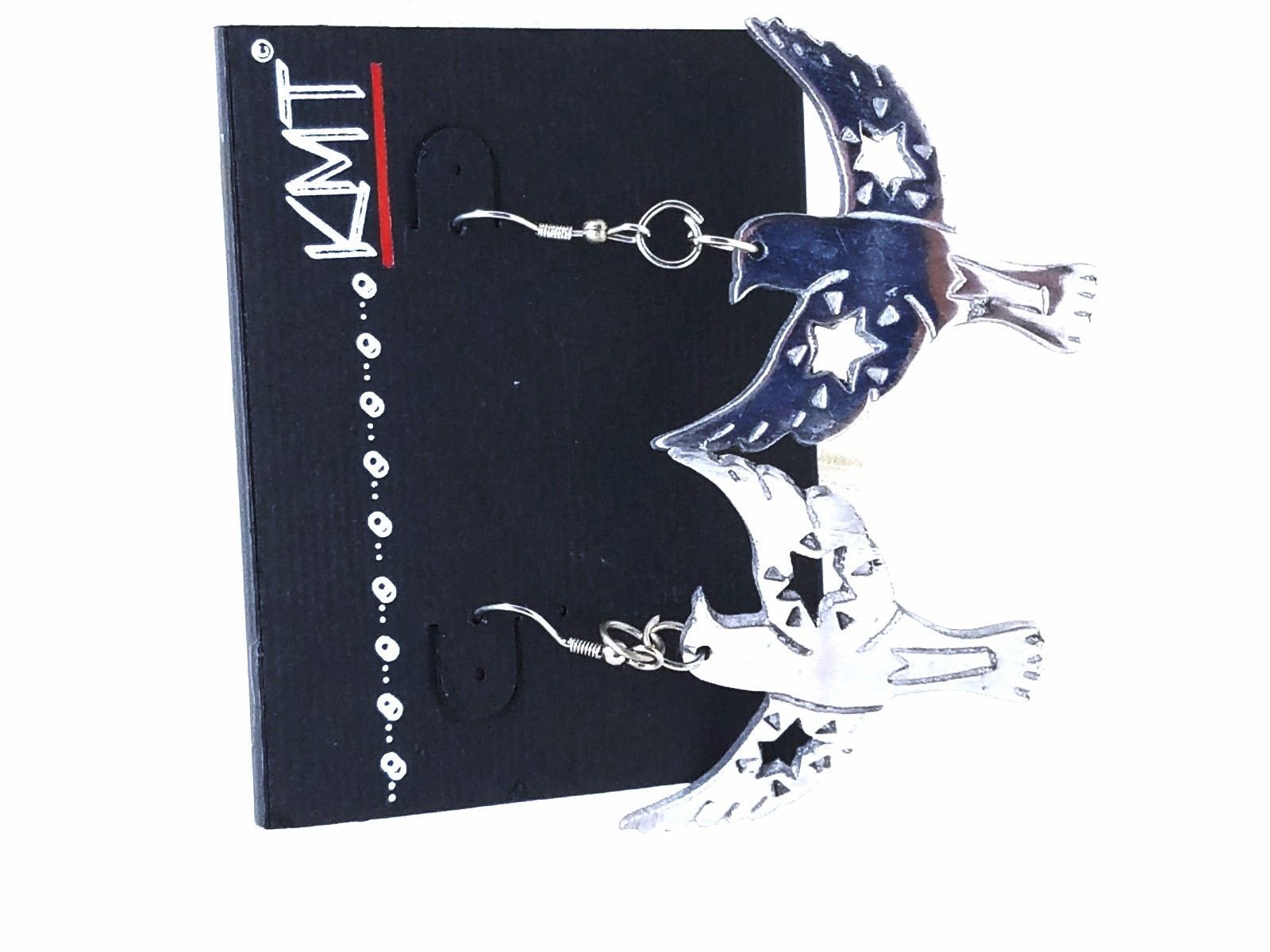 Bird Wings Spread with cut out Stars Silver Tone Figural Fish Hook Earrings
