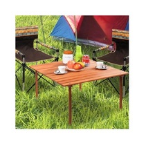 Wooden Folding Indoor Outdoor Table Deck Patio Camping Picnic Roll up Table - $62.98