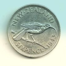 1943 New Zealand 6 Pence Silver Coin AU Very Nice! - $9.30