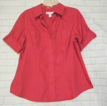 Chico Size 1 Raspberry Pink  Short Sleeve Cotton No Iron Career Blouse Top - $15.55