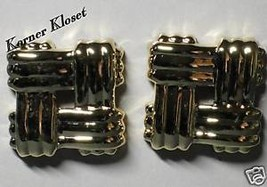 Goldtone Weave Design Earrings by Avon - Pierced - NIB - $11.64
