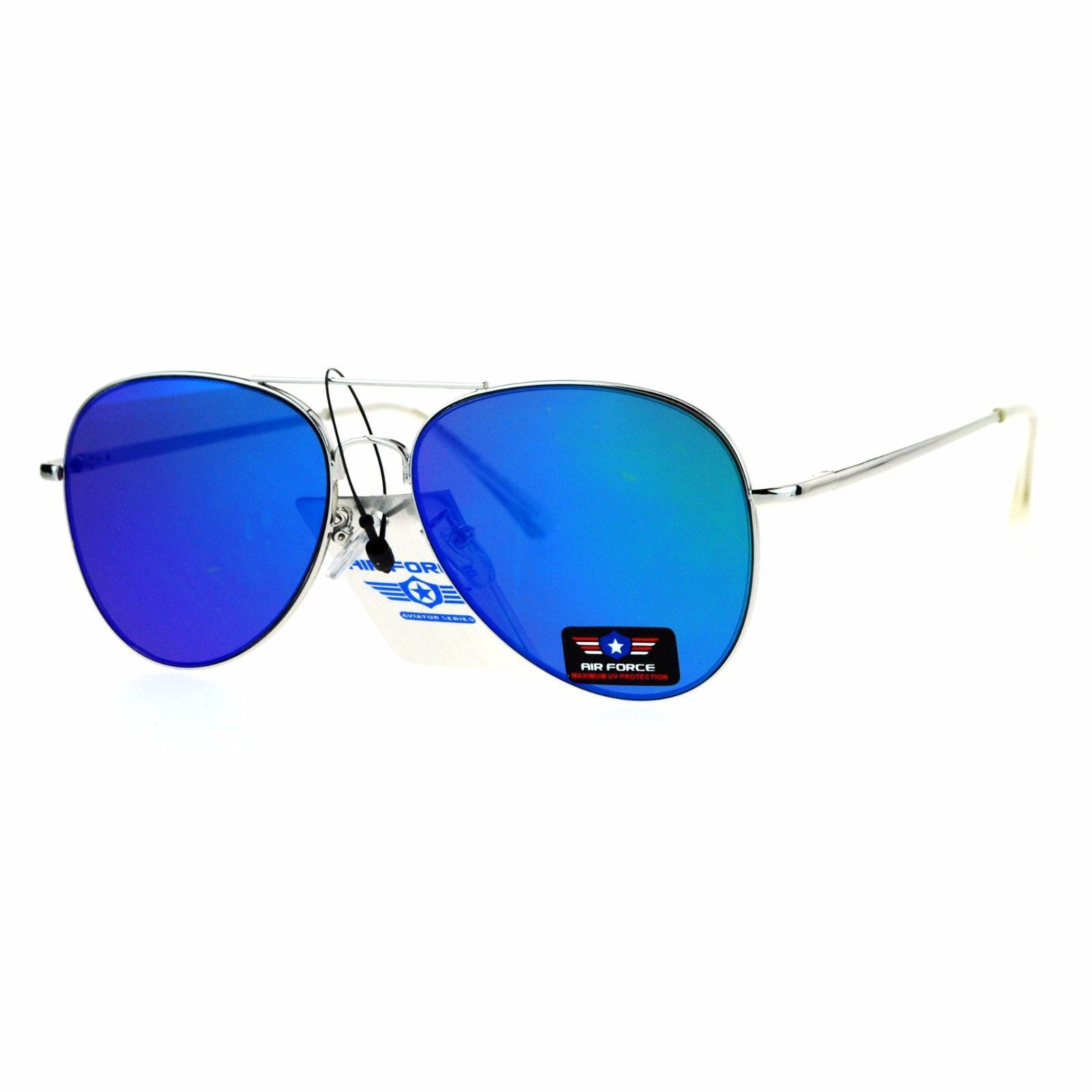 Air Force Aviator Sunglasses Unisex Spring Hinge Metal Frame Mirror Lens