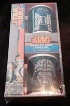 NEW Star Wars 2 Mug Gift Set w/Chocolate Fudge Cocoa R2-D2 and Darth Vad... - $11.88