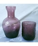 Pilgrim Glass Purple Bedside Water Decanter Bottle Clear Tumbler Set Ame... - $52.20
