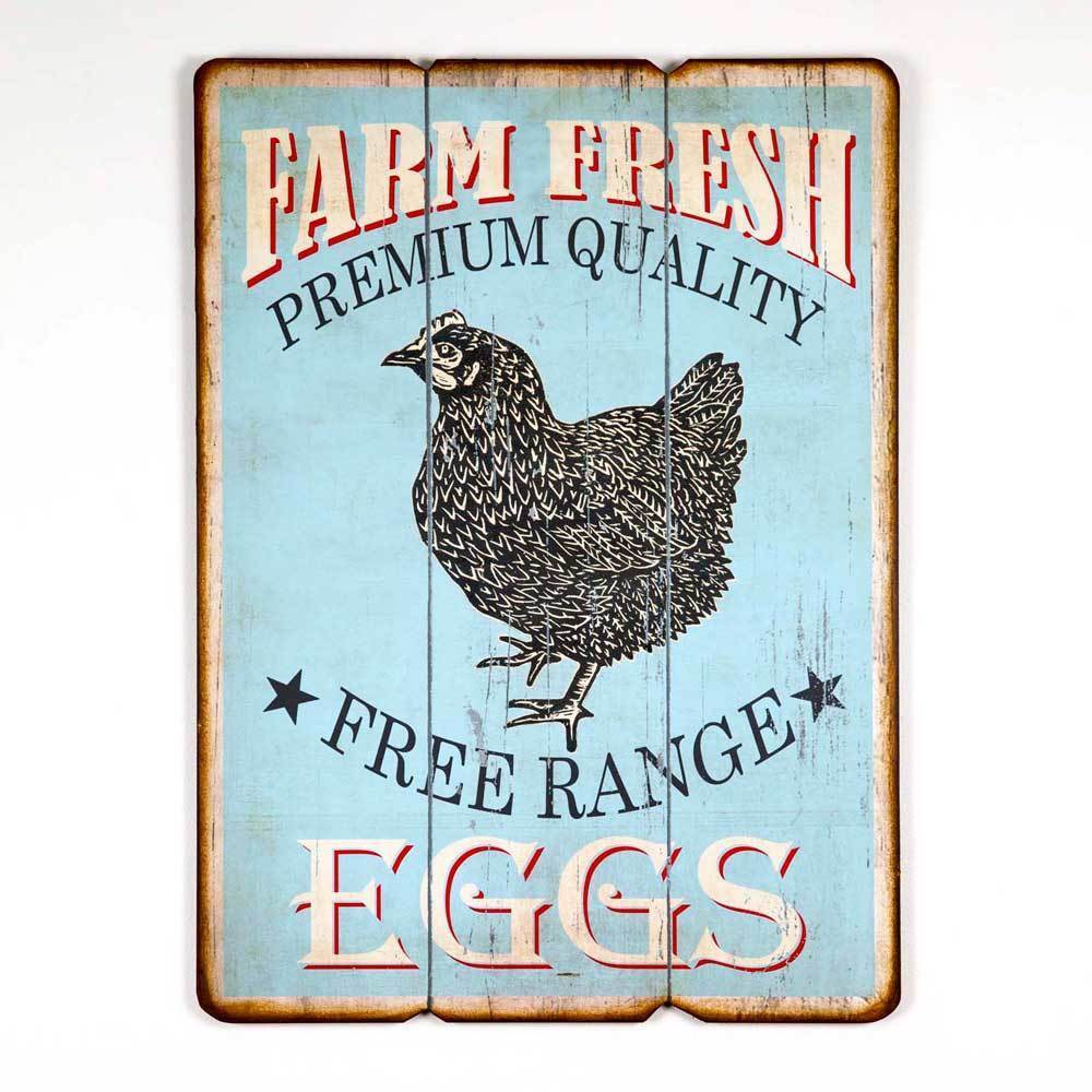 Vintage Style Country Kitchen FarmHouse Free Range Eggs Chicken Wooden Sign