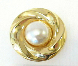 Twisted Swirl Shiny Gold Tone & Faux Pearl Cabochon Scarf Clip 1980s?  - $6.99