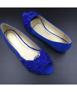 Royalblue Peep toe Bridal Shoes,Blue Open Toe Bridesmaid Shoes,wedding flat shoe - £38.61 GBP