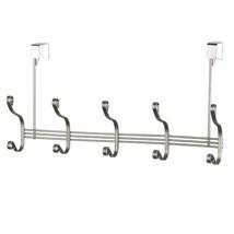 Over The Door Hanging Rack- 5 Hooks -Satin Nickel Finish Metal - $19.99