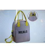 Insulated Lunch Bag Canvas Lunch Bag for Anyone (Grey/yellow) New - $18.50