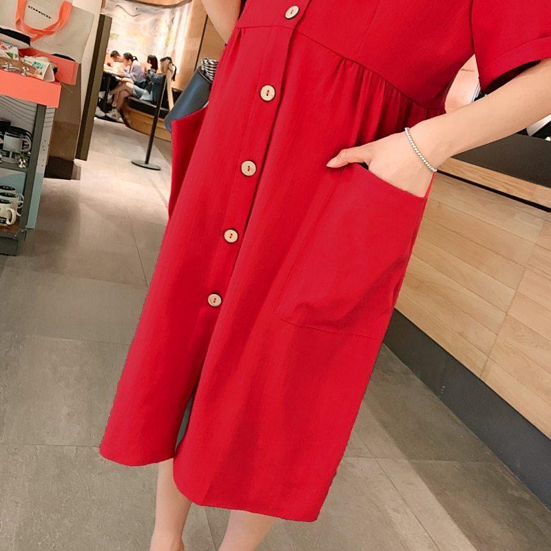Maternity's Dress V Neck Short Sleeve Loose Solid Color Dress image 7