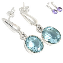Alexandrite Posts Earrings, 925 Silver, Changes Color - $32.00