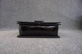 100% AUTH Chanel Le Boy Black Patent Leather Plexiglass Medium Quilted Flap Bag  image 4