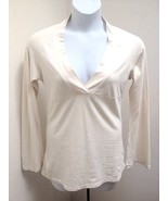 Patagonia L Top Cream Brown Graphic Back Flared Long Sleeve Organic Cott... - $21.54