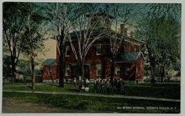 Old Linen Era Curt Teich Postcard Fourth Ward School, Seneca Falls, New ... - $13.67
