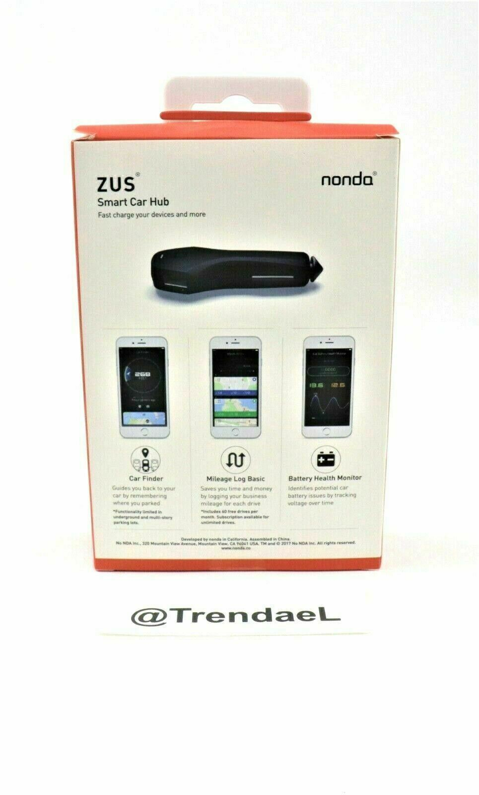 New ZUS Smart Car Hub USB Charger Battery Monitor Car Locator Mileage Log Nonda