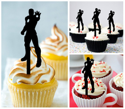 Ca272 Decorations cupcake toppers Iron Man silhouette Package : 10 pcs - $10.00