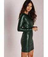 Women Green Leather Dress Genuine Lambskin Women's Fashion Plus Size - £119.17 GBP