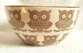 """Pfaltzgraff Everyday 6"""" Bowl OWL BIRD Brown White Cereal Soup NICE - $14.95"""