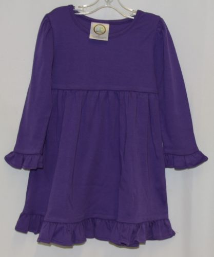 Blanks Boutique Purple Long Sleeve Empire Waist Ruffle Dress Size 2T