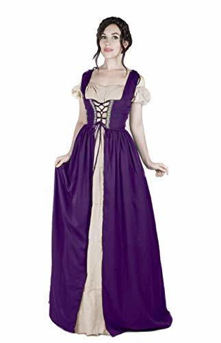Boho Set Medieval Irish Costume Chemise and Over Dress (2XL/3XL, Plum/Sand)