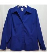 Worthington Shirt Collared Blue Long Sleeve Blouse Size 18 - $14.99