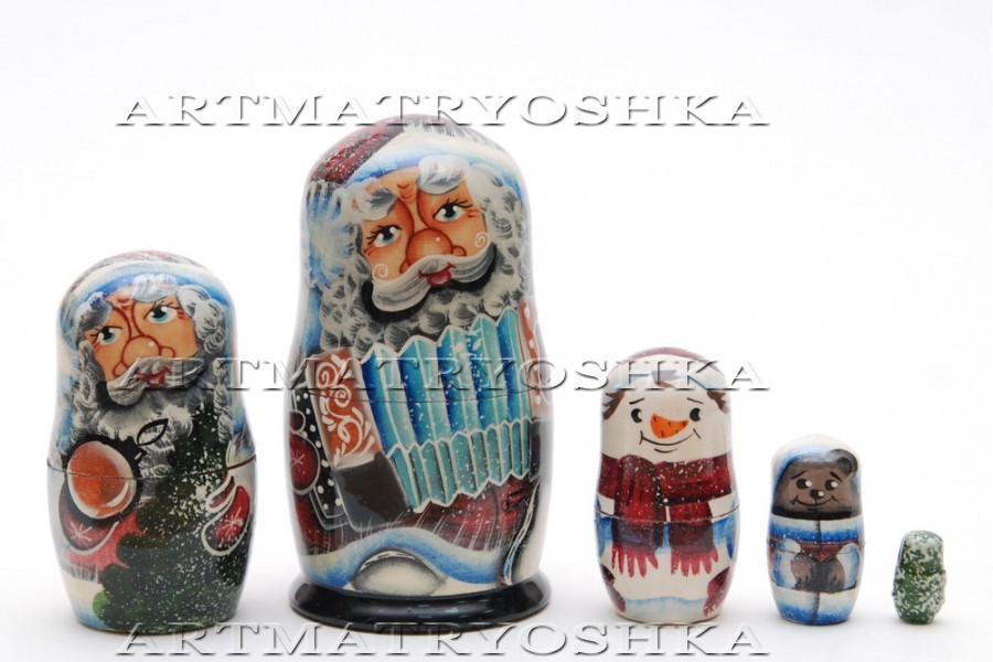 Matryoshka nesting doll Santa Claus2  5 pc, 3.6 inches