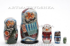 Matryoshka nesting doll Santa Claus2  5 pc, 3.6 inches - $39.90