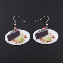 1 pairchocolate cake food drop earrings colorful new 2014 cute lovely printing a - $9.19