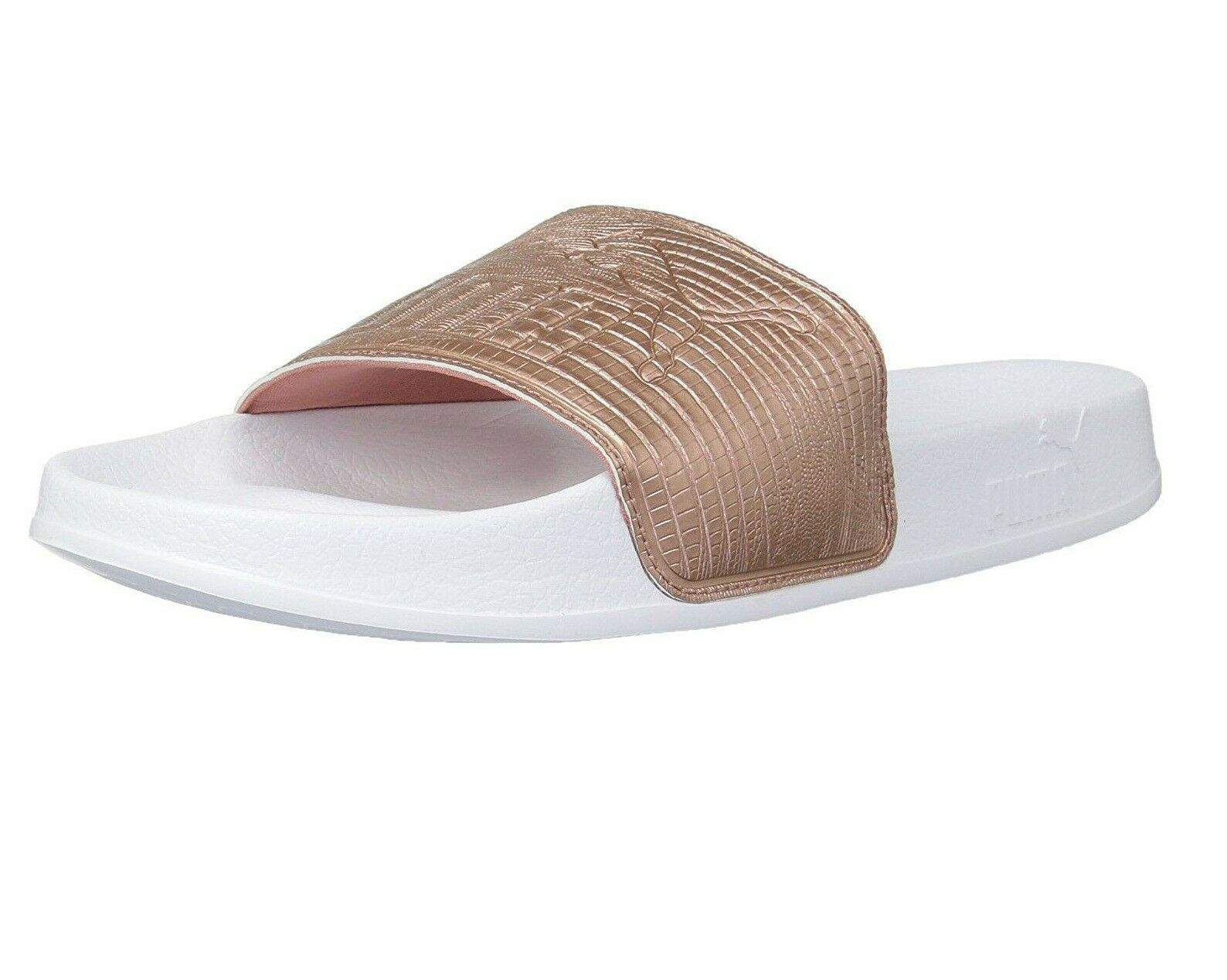 Primary image for Puma Leadcat Leather Copper Rose White Womens Sandal Slides 365693 01