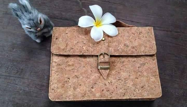 EcoQuote Satchel Sling Bag Handmase Cork Eco Friendly Cork Material for Vegan