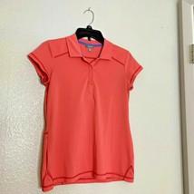 Talbots Sz XS Womens Coral Short Sleeve Polo Shirt Top 1/2 Button - $11.29