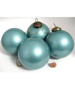 Pottery Barn Pearlized Aqua Blue Christmas Tree Ornaments 4 Large Glass ... - $24.00