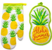 KITCHEN SET 2 Pc Pineapple 100% COTTON KITCHEN POT HOLDERs 1 OVEN MITT - $12.34