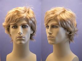 Medium Blonde Grey Brunette Red Straight Men's Wig - $54.50