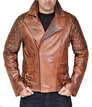 Classic Brando Lambskin Vintage Distressed Brown Leather Biker Jacket image 1