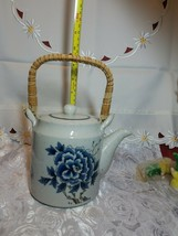 Otagiri Tea Pot Stoneware Bamboo Handle Blue Butterfly & Flowers on Gray Teapot image 2