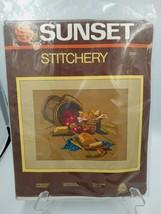 "Sunset Stitchery Kit SUNSHINE HARVEST #2295 USA Sealed 14"" x 18"" Vintage - $18.91"