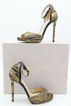 NIB Jimmy Choo Pearl 120 Moire Metallic Gold Black Ankle Buckle Sandals ... - $325.00