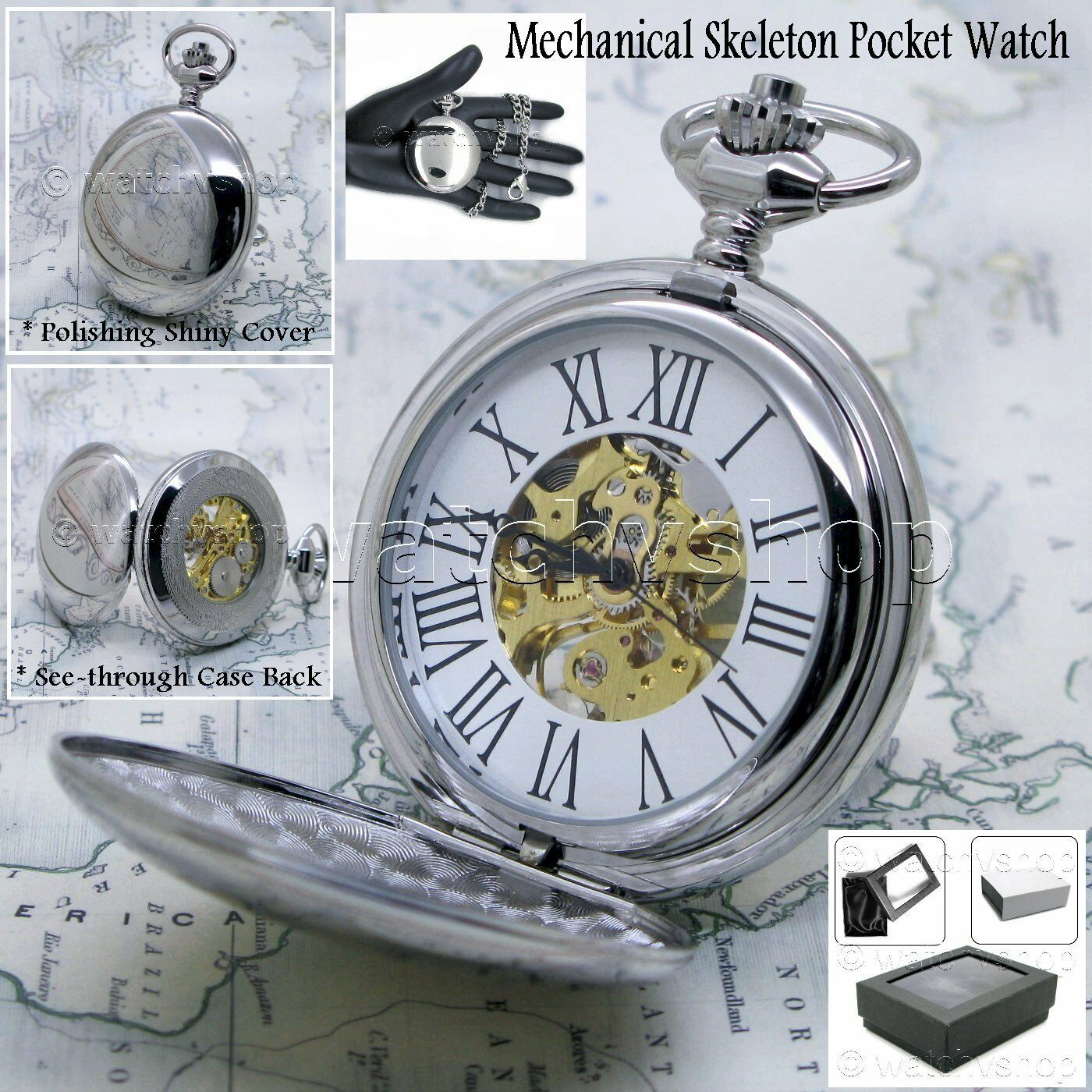 Primary image for Silver Mechanical Pocket Watch Big Polish Brass Case Gold Skeleton Chain Box P42