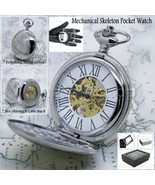 Silver Mechanical Pocket Watch Big Polish Brass Case Gold Skeleton Chain... - $33.49