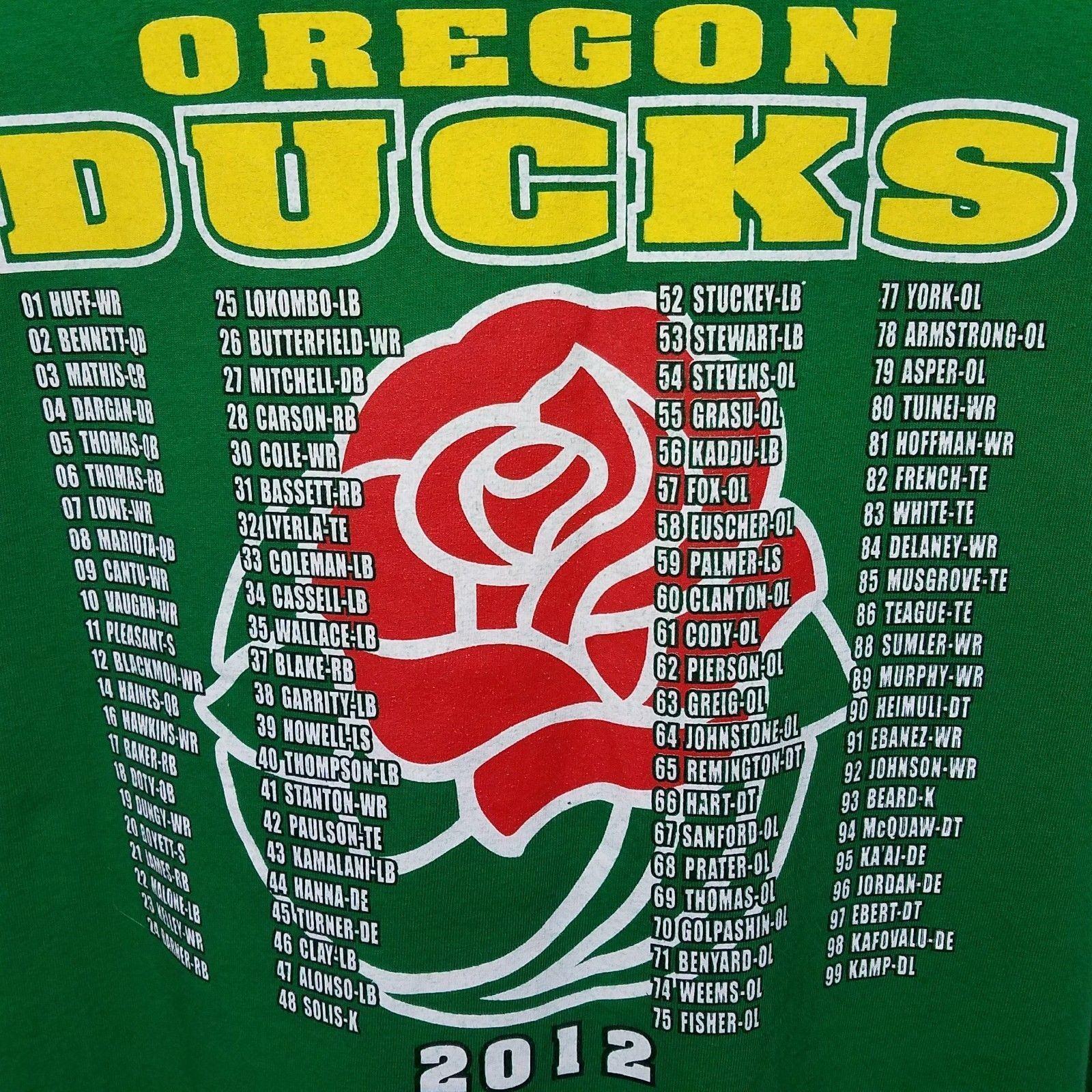 2012 Rose Bowl T Shirt Oregon Ducks Green Short Sleeve  2XL