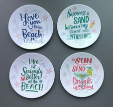 "Melamine Tidbit Appetizer Dessert Plates 6"" Set of 8 Beach Summer Cottag... - $29.58"