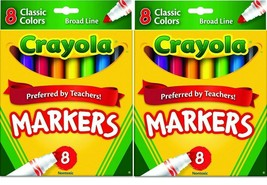 2 PACK CRAYOLA CLASSIC MARKERS Broad Line 8 in each Box (Pack of 2)  - $10.88