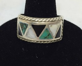 Sterling Silver Ring Stone Inlay Band Size 9 1/4 Vintage Onyx Quartz Tur... - $34.64
