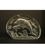 Lead Crystal Romania Dolphin Glass Paperweight Ocean - $12.99