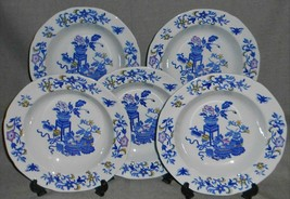 Set (5) Copeland Spode Multicolor Blue Bowpot Pattern Soup Bowls England - $55.43