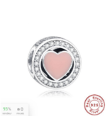Authentic Pandora Wonderful Love Soft Pink enamel CZ Charm Bead - $26.99