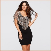 Ruffled Open Shoulder Leopard Print Chiffon Veil Over Black Sheath Pencil Dress