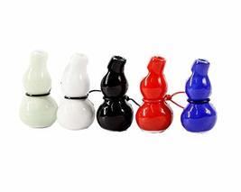Set of 5 Ceramic Whistle Multicolor Gourd Shape Crafts Pendant Necklace Adjustab